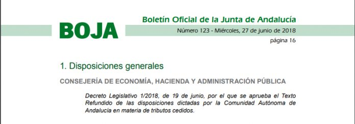 Approved in Andalusia the Consolidated Text in the matter of ceded taxes